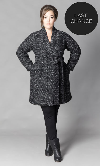 ANNE WRAP COAT BLACK/GREY